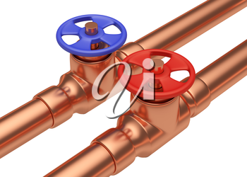 Plumbing pipeline with cold water and hot water pipes water supply system industrial construction: red valve and blue valve on two copper pipes isolated on white background, industrial 3D illustration