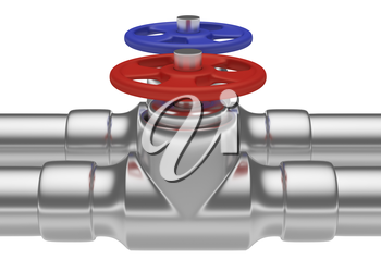 Plumbing pipeline with cold water and hot water pipes water supply system industrial construction: red valve and blue valve on two steel pipes isolated on white background, industrial 3D illustration