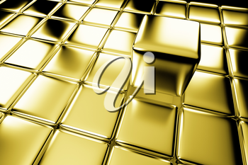 Unique, difference, leadership, and individuality concept: one shiny gold cube standing out in the crowd of golden cubes