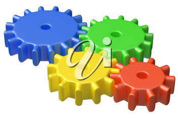 preschool technical education concept: colorful plastic toy cogwheel construction isolated on white background, 3D illustrarion