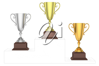 Sports winning and championship and competition success concept - golden, silver and bronze winners trophy cups isolated on the imaginary winners podium drawn by gray contour lines, 3d illustration