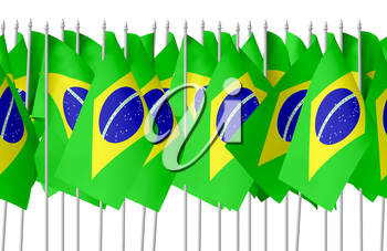 Many small flags of Federative Republic of Brazil in row isolated on white background, seamless, 3d illustration