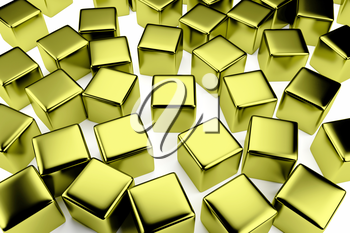 uniqueness and identity concept: golden cube surrounded by a crowd of the same scattered gold cubes