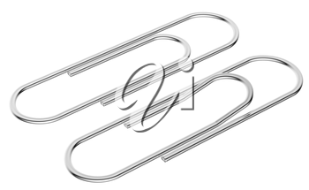 Metal paperclip diagonal view isolated on white background
