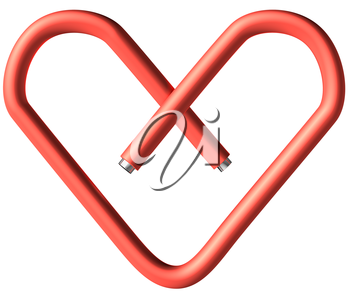 Red paper-clip in the heart shape isolated on white background