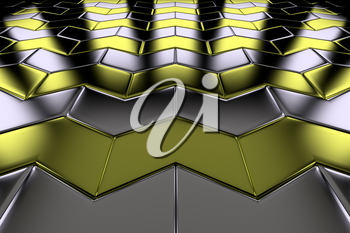 Metal with gold arrow blocks flooring perspective view shiny abstract industrial background