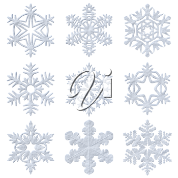 Set of snowy blue decorative snowflakes isolated on white background