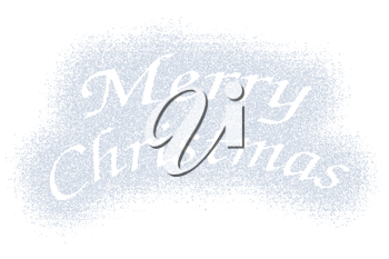 Snow mark of Merry Christmas sign isolated on white background