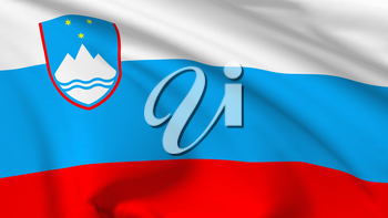National flag of Republic of Slovenia flying in the wind, 3d illustration closeup view