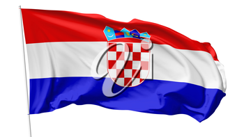 National flag of  Republic of Croatia on flagpole flying in the wind isolated on white, 3d illustration