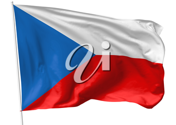 National flag of Czech Republic on flagpole flying in the wind isolated on white, 3d illustration