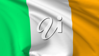 National flag of Republic of Ireland flying in the wind, 3d illustration closeup view