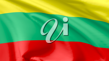 National flag of Republic of Lithuania flying in the wind, 3d illustration closeup view