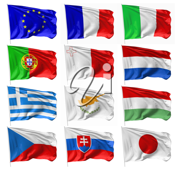 Collection of national European and Japan flags of on flagpole flying in the wind isolated on white, 3d illustration set