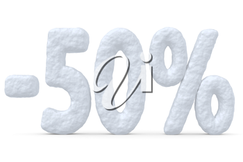 Winter retail, sale, commercial and business advertisement creative abstract concept; christmas sale discount offer, snowy special 50 percent price cut off text made of snow isolated on white.