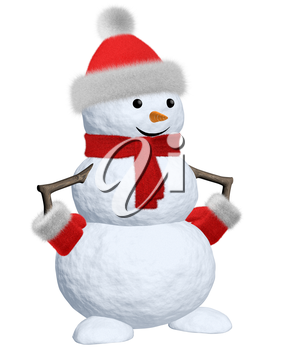 Cheerful snowman with red fluffy hat, scarf and mittens 3d illustration