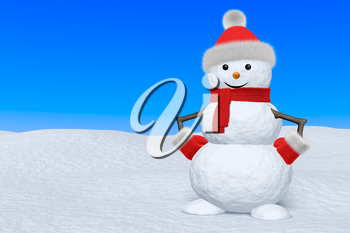 Cheerful snowman with red fluffy hat, scarf and mittens on snow under blue sky, 3d illustration with copy-space