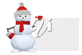 Cheerful snowman with blank white board in red fluffy hat, scarf and mittens isolated on white background, 3d illustration