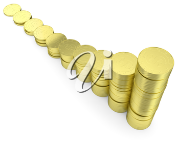 Financial growth and business success creative concept - growing golden bar chart contains of gold dollars coins isolated on white background, 3d illustration, diagonal view