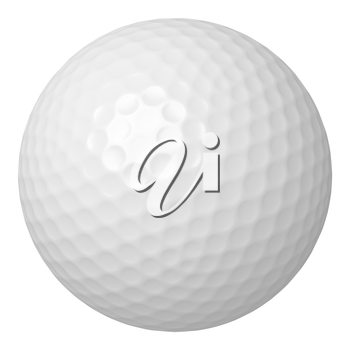 One white golf ball isolated on white background