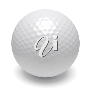 White golf ball isolated on white with shadow