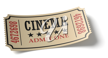Vintage retro cinema creative concept: vintage retro cinema admit one ticket made of yellow textured paper isolated on white background with shadow closeup view, 3d illustration