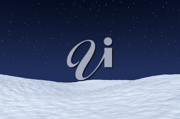White snowy field under bright clear winter night north sky with bright stars, winter snow background 3d illustration