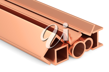 Metallurgical industry non-ferrous industrial products - group of stainless rolled copper metal products (pipes, girders, profiles, bars, balks and armature) on white, industrial 3D illustration.