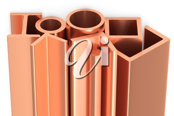 Metallurgical industry non-ferrous industrial products - group of stainless rolled copper metal products (girders, pipes, profiles, bars, balks and armature) on white, industrial 3D illustration