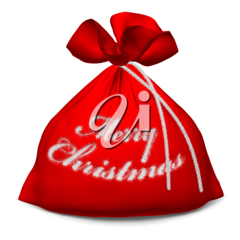 Santa Claus red bags with sign Merry Christmas isolated on white background 3d illustration
