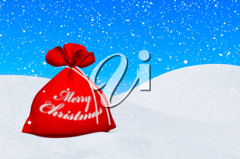 Santa Claus red bag with sign Merry Christmas on the white snow under snowfall and blue sky 3d illustration