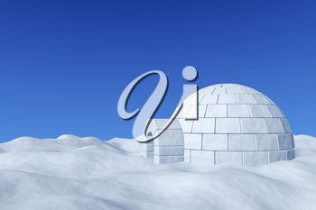 Winter north polar snowy landscape - eskimo house igloo icehouse made with white snow on surface of snow field under cold north blue sky 3d illustration