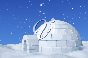 Winter north polar snowy landscape - eskimo house igloo snowhouse made with white snow on the surface of snow field under cold north blue sky with snowfall closeup 3d illustration