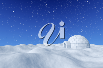 Winter north polar snowy landscape - eskimo house igloo icehouse made with white snow on surface of snow field under cold north blue sky with snowfall 3d illustration