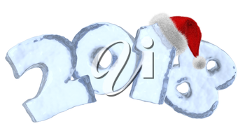 New Year 2018 text written with numbers made of clear blue ice with Santa Claus fluffy red hat, new year 2018 winter icy symbol 3d illustration isolated on white