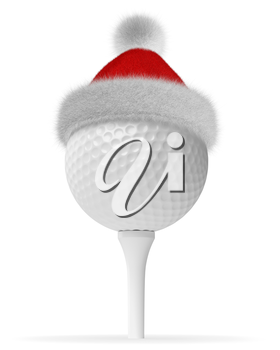 New Year and Christmas holidays sport leisure creative concept: white golfball on tee in Santa Claus fluffy red hat with red and white fur isolated on white backgroung 3d illustration