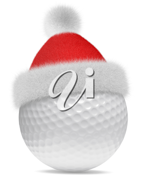 New Year and Christmas holidays sport leisure creative concept: white golfball in Santa Claus red hat with red and white fur isolated on white backgroung 3d illustration
