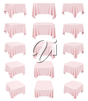 Pink square table cloth with rounded corners, set isolated on white, 3d illustration collection