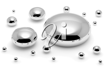 Shiny mercury (Hg) metal drops and droplets isolated on white background