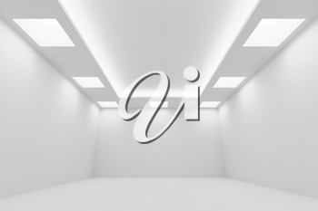Abstract architecture white room interior - empty white room with white wall, white floor, white ceiling with square ceiling lamps and hidden ceiling lights,  wide perspective view, 3d illustration