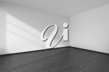 Corner of black and white empty room with black hardwood parquet floor, white walls and sunlight from window on the wall minimalist interior, 3d illustration