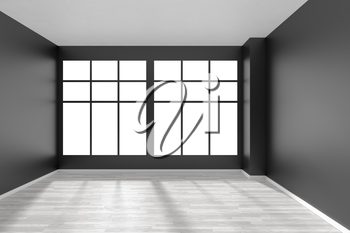 Black and white empty room with white hardwood parquet floor, big window and black walls and sunlight from window minimalist interior front view, 3d illustration