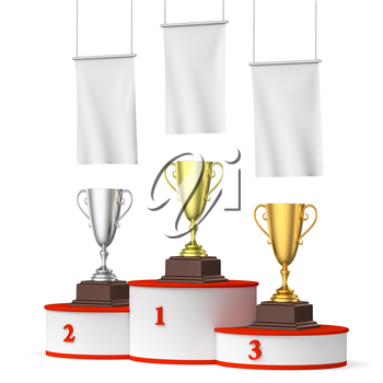 Sports winning, competition and championship success concept - three winners trophy cups on round sports pedestal, white winners podium with red stairs and blank white flags, 3d illustration, right