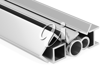 Metallurgical industry industrial products - group of rolled steel metal products (pipes, girders, profiles, bars, balks and armature) on white, industrial 3D illustration.