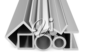 Metallurgical industry products - rolled steel metal products (pipes, profiles, girders, bars, balks and armature) on white, industrial 3D illustration