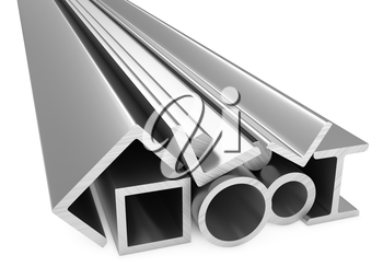 Metallurgical industry products - rolled metal steel products (pipes, profiles, girders, bars, balks and armature) on white, industrial 3D illustration