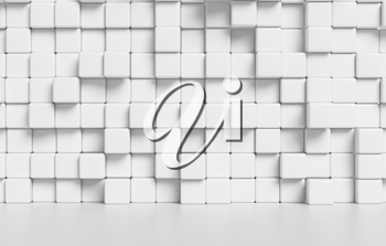White wall made of white cubes and smooth floor with reflection abstract simple 3d illustration