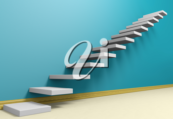 Business rise, forward achievement, progress way, success and hope creative concept: Ascending stairs of rising staircase in blue empty room with beige floor and plinth, 3d illustration