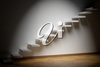 Business rise, forward achievement, progress way, success and hope creative concept: Ascending stairs of rising staircase in dark empty room with spot light with parquet floor and plinth 3d illustration
