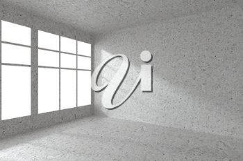 Abstract architecture spotted concrete room interior: empty room corner with dirty spotted concrete walls, concrete floor, concrete ceiling and window with sunlight from window, 3d illustration